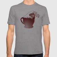 Coffee Wave Mens Fitted Tee Tri-Grey SMALL