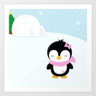 Cute Penguin Girl  Art Print