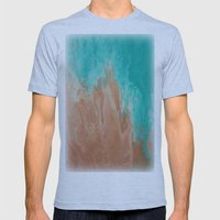 Ocean and Sand Abstract Mens Fitted Tee Athletic Blue SMALL