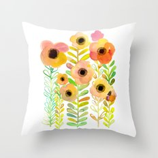 Peony field Throw Pillow