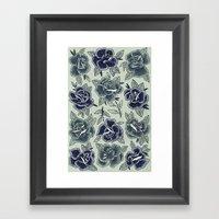 Dozen Roses - Blue Framed Art Print