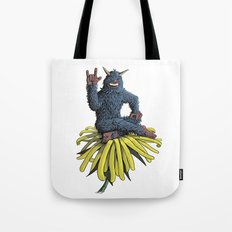 Monster on Oblique Dandelion Tote Bag