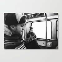 Playing the accordion in the tram, Göteborg Sweden Canvas Print