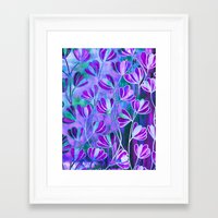EFFLORESCENCE Lavender Purple Blue Colorful Floral Watercolor Painting Summer Garden Flowers Pattern Framed Art Print