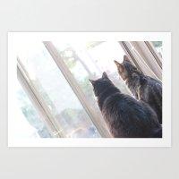 Windowsill Kitties Art Print