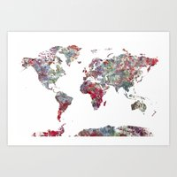world map Art Prints featuring World Map  by MapMapMaps.Watercolors