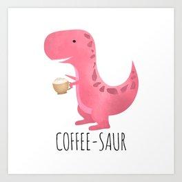 Art Print - Coffee-saur | Pink - A Little Leafy