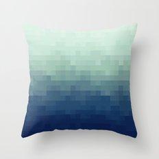 Gradient Pixel Aqua Throw Pillow