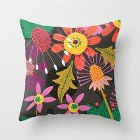 Jungle Flowers Throw Pillow