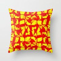 red shapes Throw Pillow