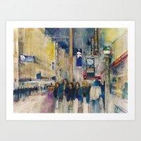 Phantom of the Opera New York Theatre District _ (2014) Watercolor  Art Print