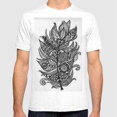 Zen Tangle Feather SMALL White Mens Fitted Tee