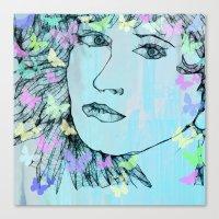 Butterfly Girl  - JUSTART © Canvas Print
