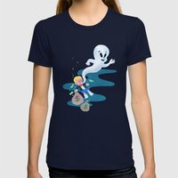 Where do friendly ghosts come from? Womens Fitted Tee Navy SMALL