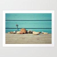 Beach Hut Stones Art Print