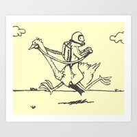 Ostrich Scuba Rider Art Print