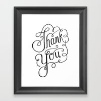 Thank you Hand Lettered Calligraphy Framed Art Print