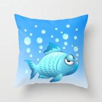 Grumpy Fish Cartoon Throw Pillow
