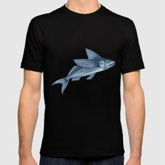 Flying Fish Drawing SMALL Black Mens Fitted Tee