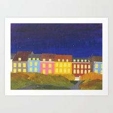 Kronissgade at Night Art Print