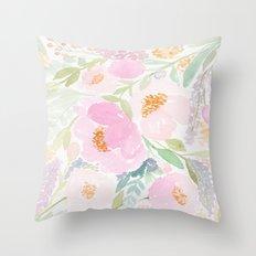 Peach Garden Floral Watercolor Throw Pillow