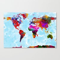 Watercolor World Map 5 Canvas Print