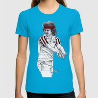 Tennis Mcenroe Womens Fitted Tee Teal SMALL