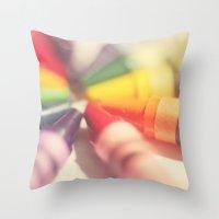 Crayon Love: Color Explosion Throw Pillow