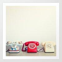 Retro Phones Art Print