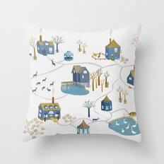 BLUE VILLAGE Throw Pillow