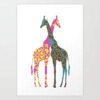 Two Giraffes together Art Print