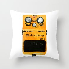 Guitar Distortion Pedal Acrylics On Paper (White Edit) Throw Pillow