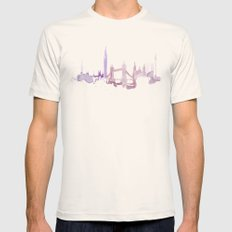 Watercolor landscape illustration_London Mens Fitted Tee Natural SMALL