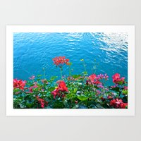 Chapel Bridge Flowers Art Print