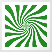 Swirl (Forest Green/White) Art Print