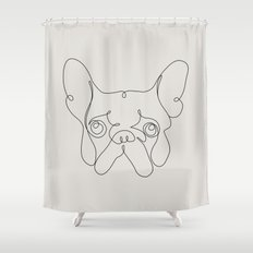 One Line French bulldog Shower Curtain