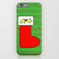 iPhone Cases featuring Christmas stocking with holly and mistletoe by Wendy Townrow