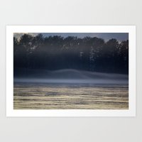 Misty Evening on the River Art Print