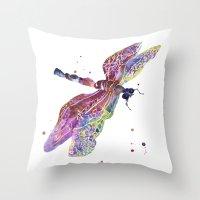 Dragonfly, dragonfly painting, romantic bugs, purple decor, batik effect Throw Pillow
