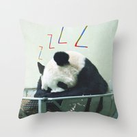 Sleepy Panda Throw Pillow