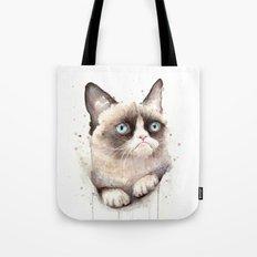Grumpy Watercolor Cat Tote Bag