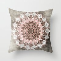 BOHOCHIC MANDALA IN CORAL Throw Pillow