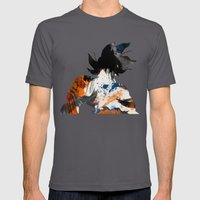 Son Goku - Digital Watercolor Painting Mens Fitted Tee Asphalt SMALL