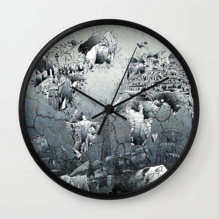 World clock wall decoration : World map wall clock by bekim art society