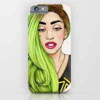 lady iPhone & iPod Cases featuring Lady Neon by Helen Green