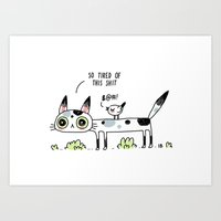 Annoyed Cat Art Print