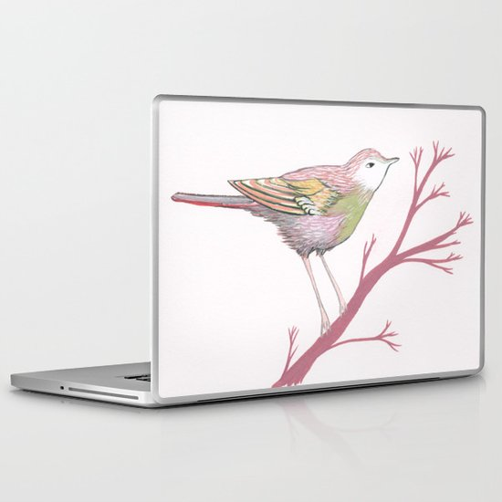 Peach Plum Pear Bird Laptop & iPad Skin