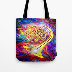 Psychedelic French horn Tote Bag