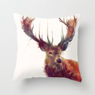 Throw Pillow featuring Red Deer // Stag by Amy Hamilton