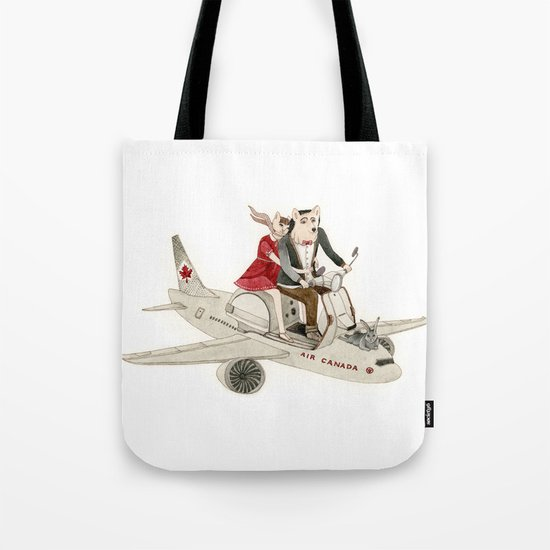 Cat and Wolf hit the road Tote Bag